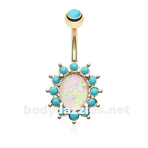 Gold Elegant Opal Turquoise Belly Button Ring 14ga Navel Ring Body Jewelry Surgical Steel - BodyDazzle