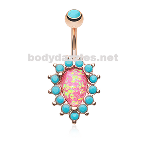 Rose Gold Opulent Opal Turquoise Belly Button Ring 14ga Navel Ring Body Jewelry - BodyDazzle