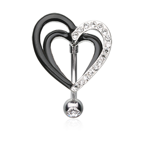 Sparkle Layered Heart Reverse Belly Button Ring Navel Ring Body Jewelry - BodyDazzle