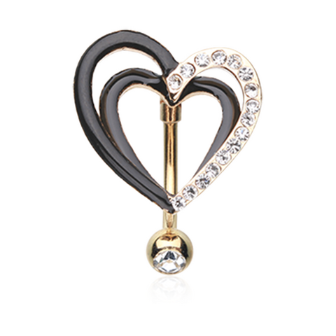 Gold Sparkle Layered Heart Reverse Belly Button Ring Navel Ring Body Jewelry - BodyDazzle