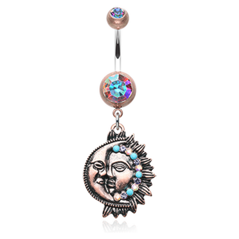 Vintage Boho Sun & Moon Belly Button Ring Navel Ring Body Jewelry - BodyDazzle