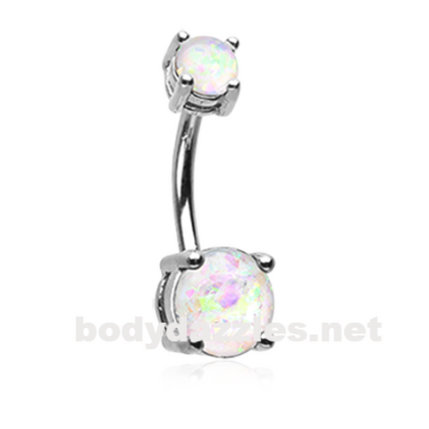 White Opal Sparkle Prong Set 14ga Belly Button Ring Navel Ring Body Jewelry - BodyDazzle