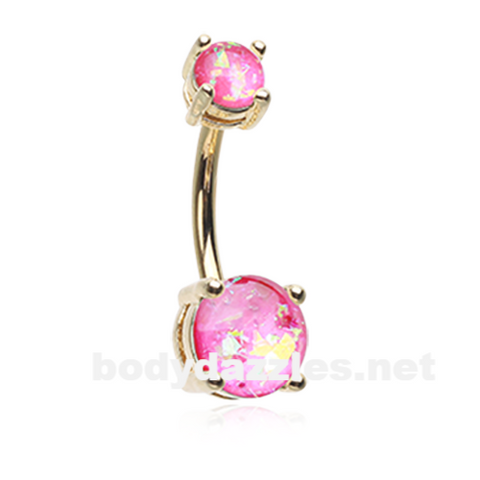 Pink Golden Opal Sparkle Prong Set 14ga Belly Button Ring Navel Ring Body Jewelry - BodyDazzle
