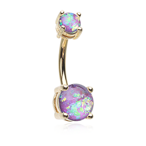 Purple Golden Opal Sparkle Prong Set 14ga Belly Button Ring Navel Ring Body Jewelry - BodyDazzle
