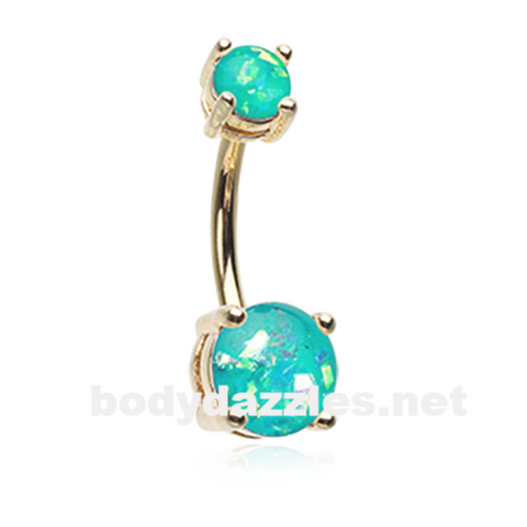 Teal Golden Opal Sparkle Prong Set 14ga  Belly Button Ring Navel Ring Body Jewelry - BodyDazzle