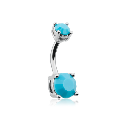 Turquoise Brilliant Gem Prong Set Belly Button Ring Navel Ring Body Jewelry - BodyDazzle