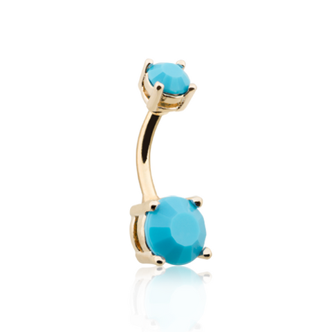 Turquoise Brilliant Gem Gold Prong Set Belly Button Ring 14ga Navel Ring Body Jewelry - BodyDazzle