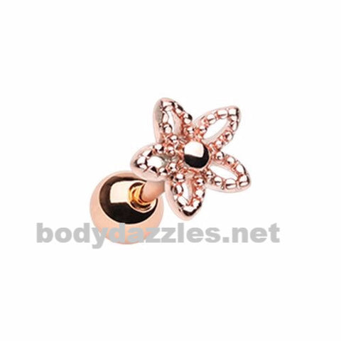 Rose Gold Ornate Five Petal Cut Out Spring Flower Cartilage 18ga Tragus Helix