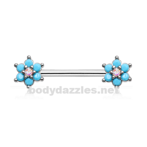Pair of Turquoise Spring Flower Sparkle Prong Set Nipple Barbell Ring