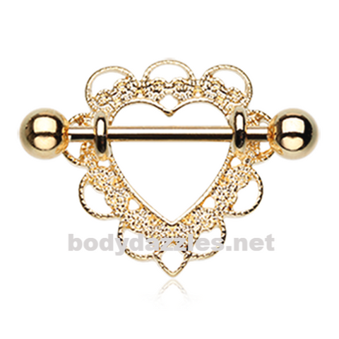 Pair of Golden Heart Filigree Nipple Shield Ring 14ga Body Jewelry