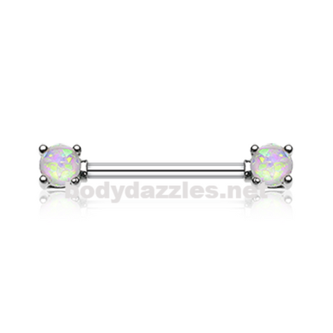 Pair of White Opal Glitter Prong Steel Nipple Barbell Nipple Ring