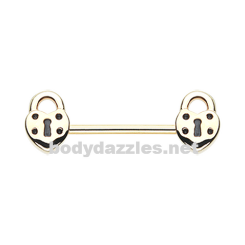 Pair of Golden Dainty Heart Lock Nipple Barbell Ring14ga Body Jewelry