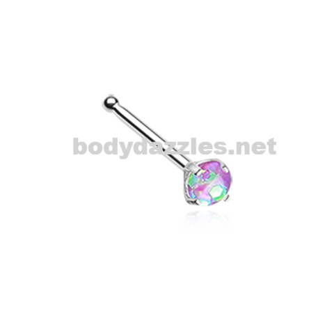 Purple Opal Sparkle Prong Set Nose Stud Ring Nose Bone Body Jewelry 20ga