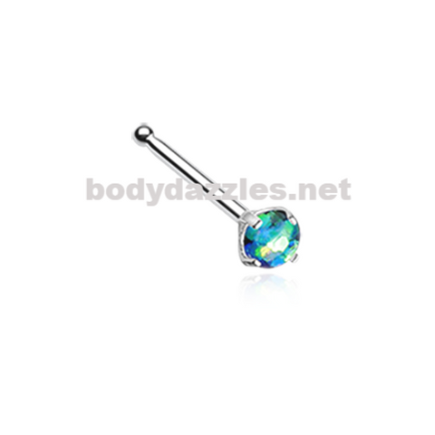 Green Opal Sparkle Prong Set Nose Stud Ring Nose Bone Body Jewelry 20ga