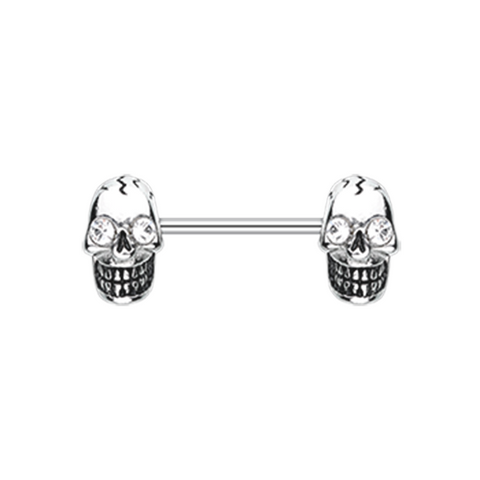 Pair of Luster Skull Nipple Barbell Ring Nipple Ring Body Jewelry 14ga Surgical Steel - BodyDazzle