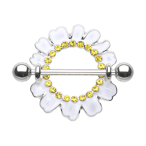 Set of White Daisy Nipple Shield Ring Body Jewelry Nipple Rings 14ga Surgical Steel - BodyDazzle