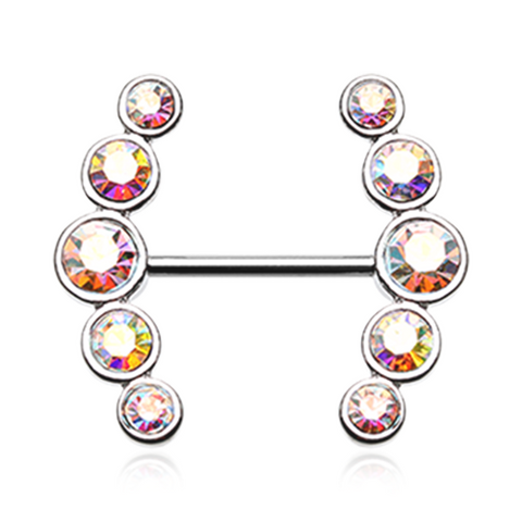 Set Of Sparkle Ray Multi-Gem Nipple Ring Body Jewelry Nipple Rings 14ga Surgical Steel - BodyDazzle
