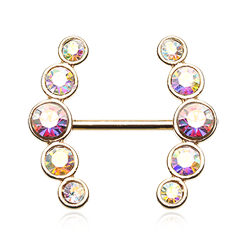 Set Of Sparkle Golden Ray Multi-Gem Nipple Ring Body Jewelry Nipple Rings 14ga Surgical Steel - BodyDazzle