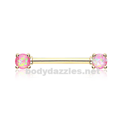 Pair of Golden Pink Opal Glitter Prong Steel Nipple Barbell Nipple Ring
