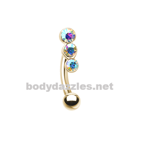 Gold Triple Linear Gem Curved Barbell Eyebrow Ring 16ga Daith Rook Ring
