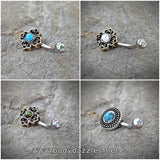 Tribal Glitter Opal Bronze Belly Button Navel Ring Body Jewelry Fits in Navel 14ga Cute Belly Ring Surgical Steel - BodyDazzle - 1