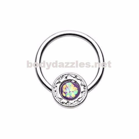 Ornate Round Purple Opal Steel Captive Bead Ring 16ga Cartilage Tragus Daith Helix Rook