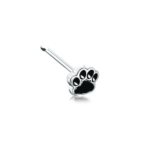 Animal Paw Print Silver Nose Stud Ring Nose Bone 20ga Body Jewelry - BodyDazzle
