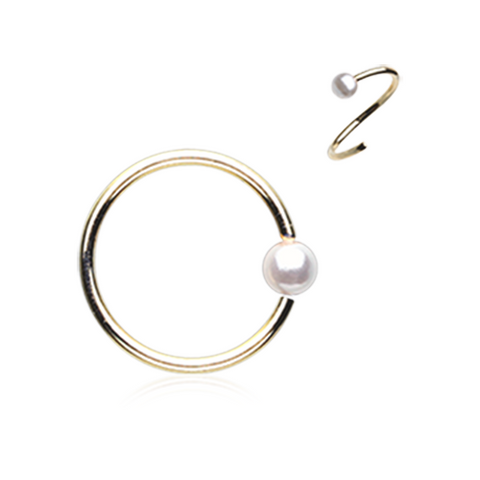 Gold with Pearl Bendable Nose Ring Nose Hoop  20ga Body Jewelry Steel - BodyDazzle