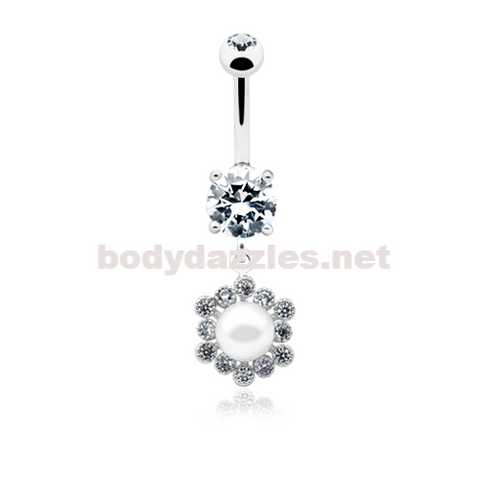 Dainty Pearl Classic Belly Button Ring Navel Ring 14ga Surgical Steel