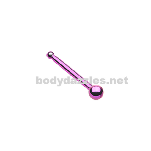 Pink Round Steel Ball Top Basic Steel Nose Stud Ring 20ga Body Jewelry