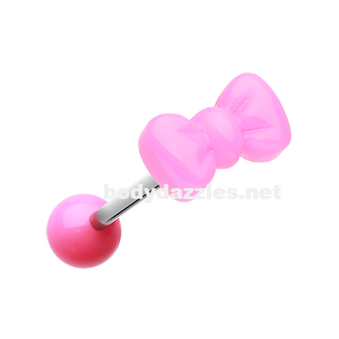 Pink Bow Tie Acrylic Barbell Tongue Ring  14ga Surgical Steel - BodyDazzle