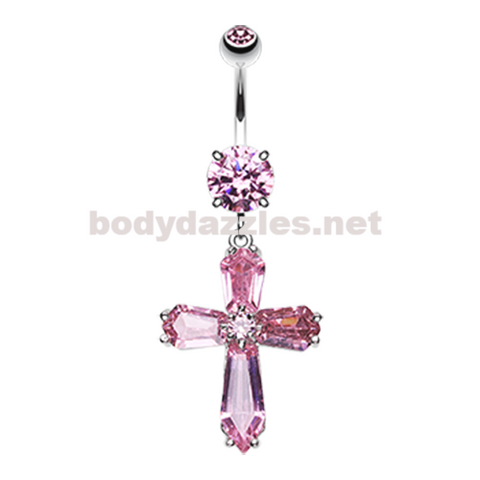 Pink Elegant Cross Sparkle Belly Button Ring Navel Ring 14ga Surgical Steel