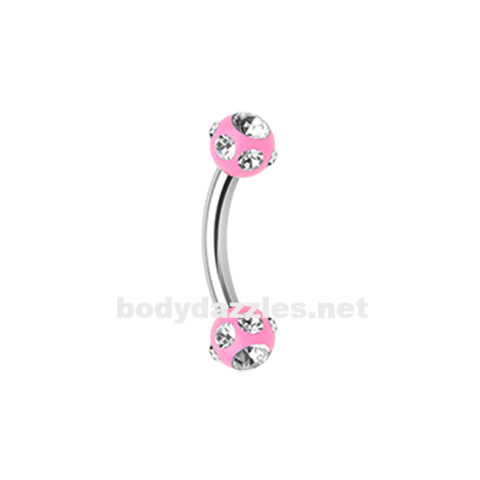 Pink Gem Ball Acrylic Curved Barbell Eyebrow Ring  Rook Daith Ring 16ga Body Jewelry - BodyDazzle
