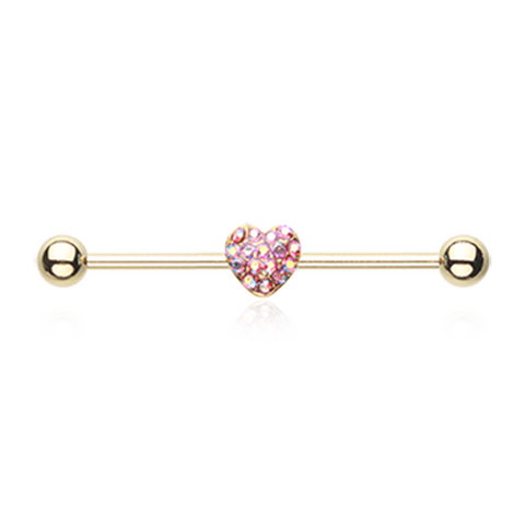 Golden Heart Multi-Gem Sparkle Industrial Barbell 14ga Surgical Stainless Body Jewelry - BodyDazzle