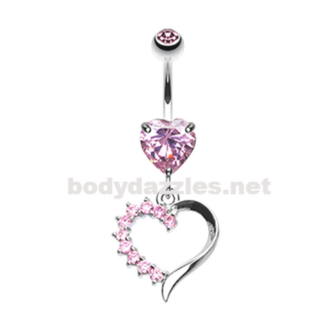 Pink Opulant Gem Heart Belly Button Ring Navel Ring 14ga Surgical Steel