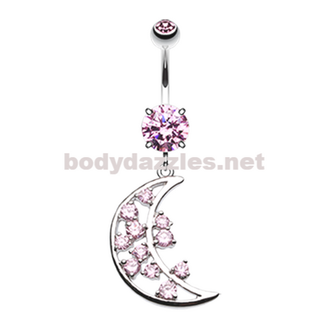 Pink Twinkling Moon Belly Button Ring Navel Ring 14ga Surgical Steel