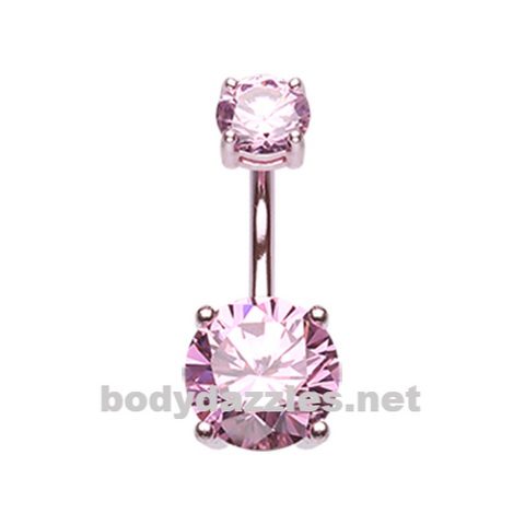 Pink Colorline Gem Prong Sparkle Belly Button Ring Stainless Steel Body Jewelry - BodyDazzle