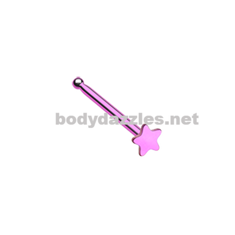 Pink Colorline Steel Star Nose Stud Ring 20ga Body Jewelry
