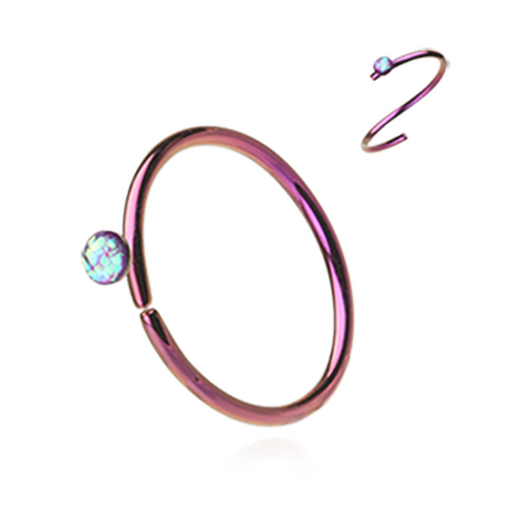 Pink Opal Bendable Nose Ring Nose Hoop  20ga Body Jewelry Steel - BodyDazzle