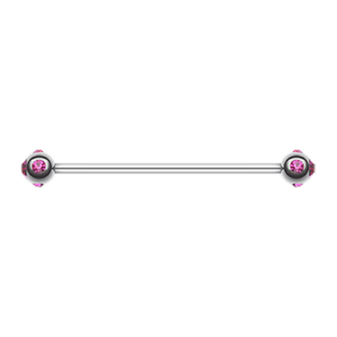Pink Gem Ball Industrial Barbell 14ga Surgical Stainless Body Jewelry - BodyDazzle