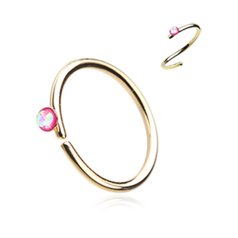 Gold and Pink Opal Bendable Nose Ring Nose Hoop  20ga Body Jewelry Steel - BodyDazzle