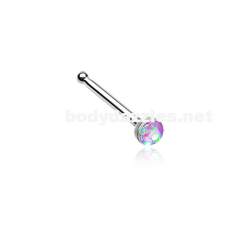 Purple Opal Sparkle Nose Stud Ring Nose Ring  20ga Body Jewelry Surgical Steel - BodyDazzle