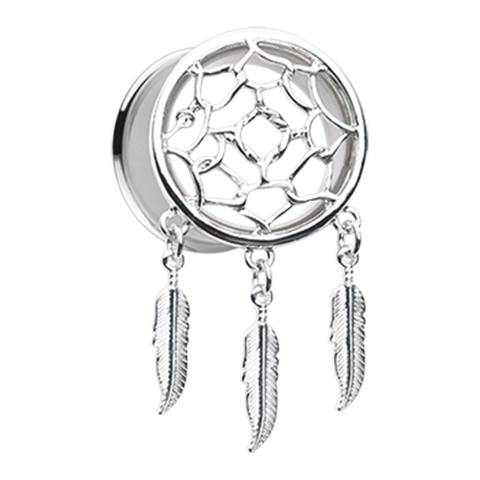 Classic Dreamcatcher Feather Dangle Ear Gauge Plug Surgical Steel - BodyDazzle