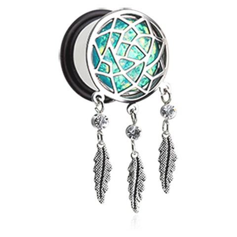 Opal Sparkle Dreamcatcher Single Flared Ear Gauge Plug Surgical Steel Body Jewelry - BodyDazzle