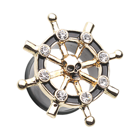 Golden Pirate Ship Anchor Wheel Ear Gauge Plug Surgical Steel - BodyDazzle