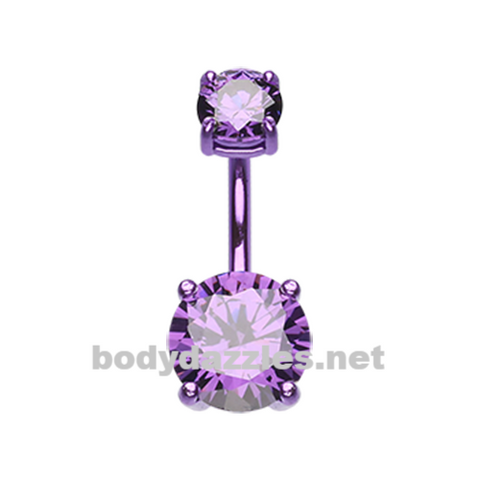 Purple Colorline Gem Prong Sparkle Belly Button Ring Stainless Steel Body Jewelry - BodyDazzle
