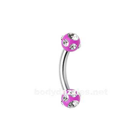 Purple Gem Ball Acrylic Curved Barbell Eyebrow Ring  Rook Daith Ring 16ga Body Jewelry - BodyDazzle