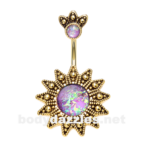 Golden Antique Opal Sunburst Belly Button Ring 14ga Navel Ring Body Jewelry - BodyDazzle