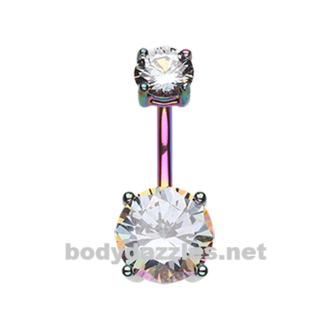 Rainbow Colorline Gem Prong Sparkle Belly Button Ring Stainless Steel Body Jewelry - BodyDazzle