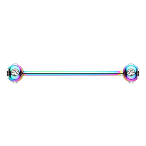 Rainbow Gem Ball Industrial Barbell 14ga Surgical Stainless Body Jewelry - BodyDazzle